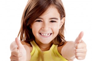 Girl with thumbs up