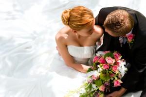 Wedding couple hugging, the