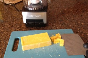 Cutting the Fells Naptha before putting it in the food processor. The soap was quite soft so it was easy to cut up.