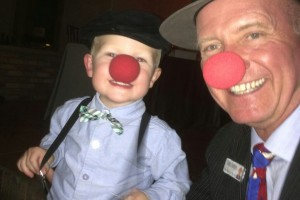 Hobbs clowning around with his nephew.