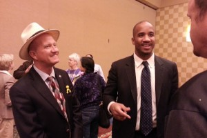 Hobbs with Mr. Yellow at a professional event.
