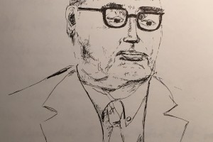 Later, John's sketch of his lawyer.