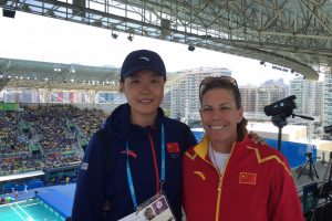 Havens with Chinese assistant coach Tang Ying at the Rio Olympics